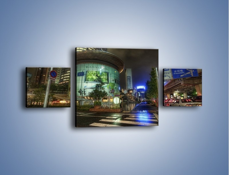 Obraz na płótnie – Spokojne Tokyo nocą – trzyczęściowy AM056W4