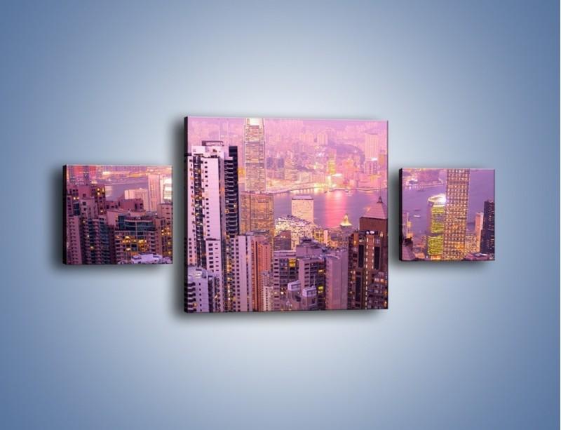 Obraz na płótnie – Duże miasto budzące się o poranku do życia – trzyczęściowy AM062W4