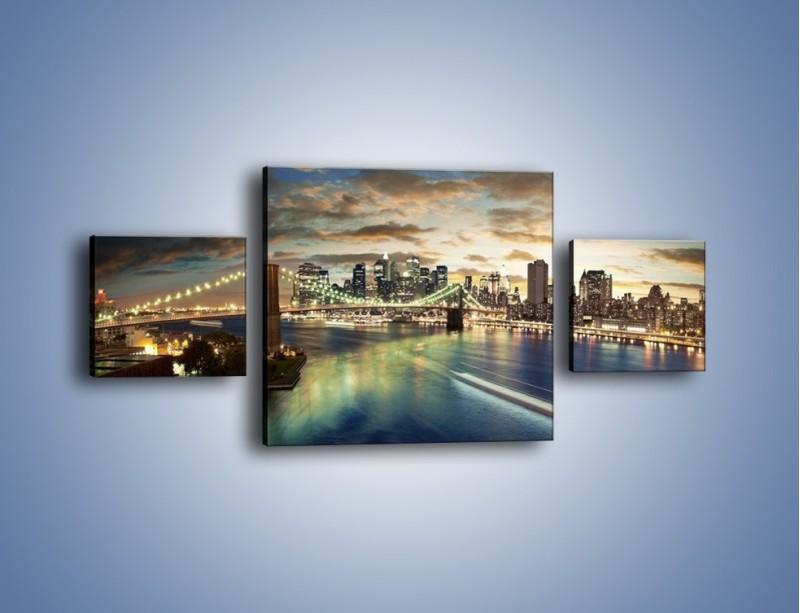Obraz na płótnie – Oświetlony most w Nowym Jorku – trzyczęściowy AM066W4