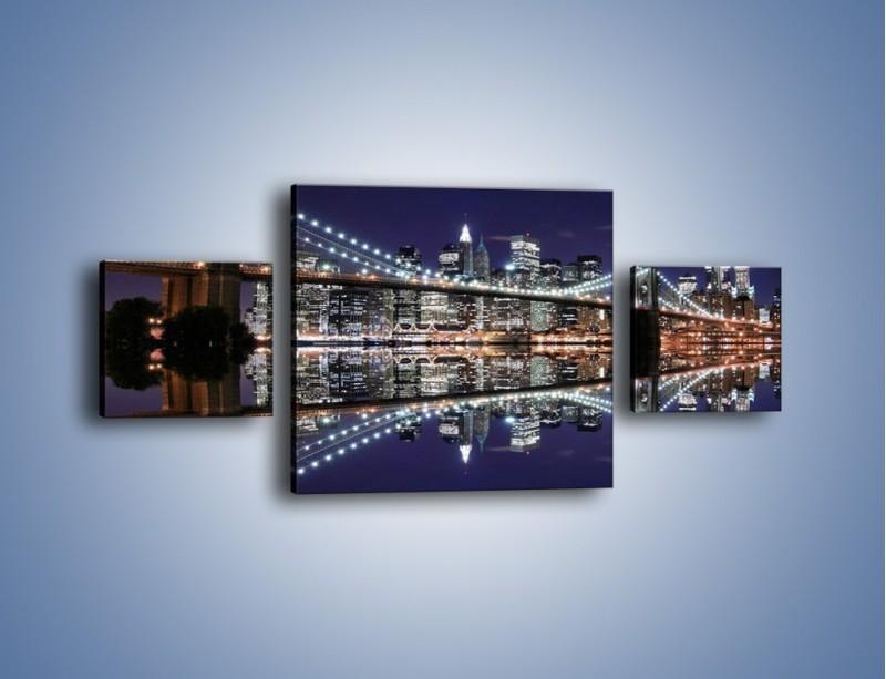 Obraz na płótnie – Most Brookliński w lustrzanym odbiciu wody – trzyczęściowy AM067W4
