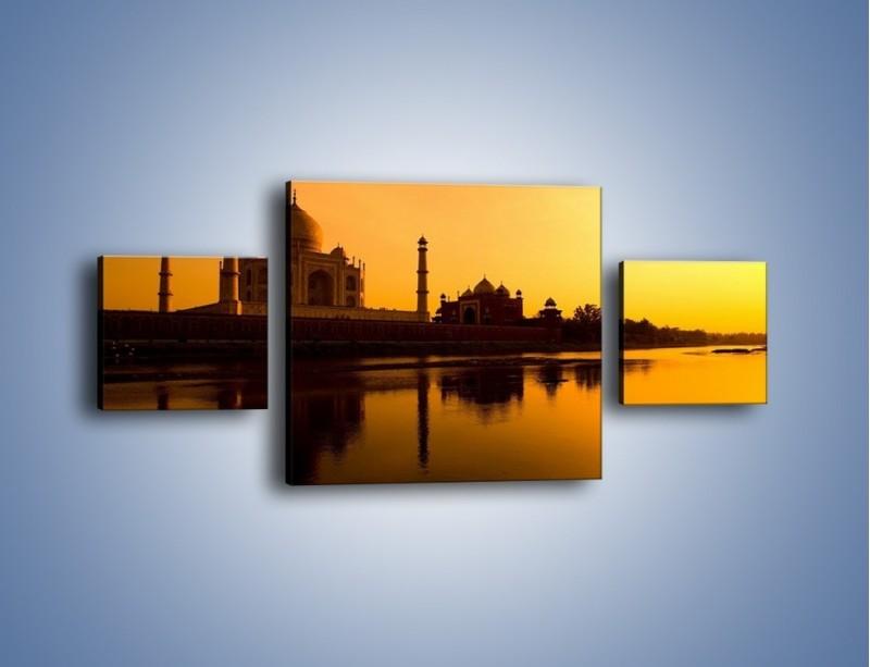 Obraz na płótnie – Taj Mahal o zachodzie słońca – trzyczęściowy AM075W4
