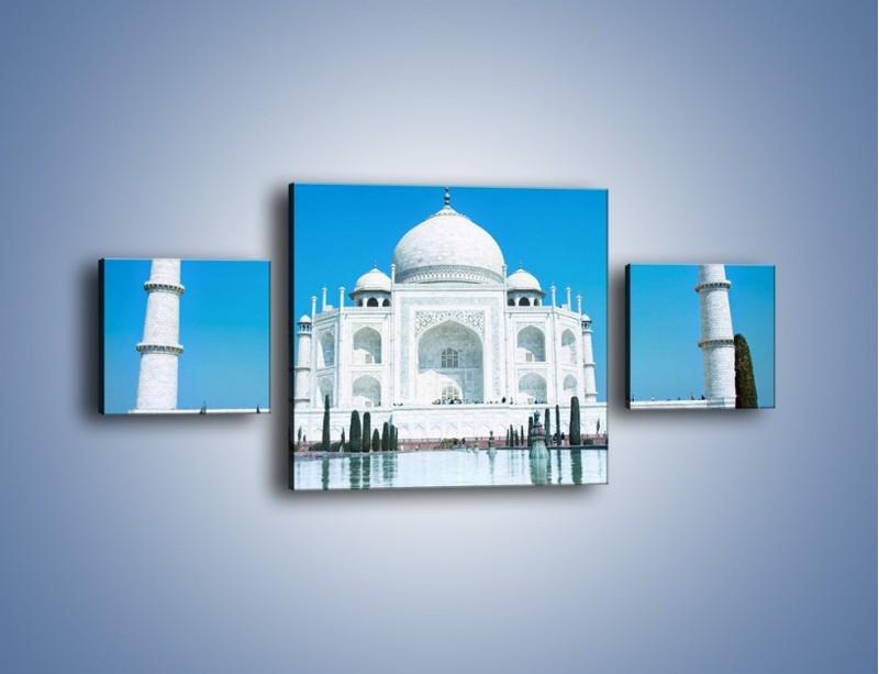 Obraz na płótnie – Taj Mahal pod błękitnym niebem – trzyczęściowy AM077W4
