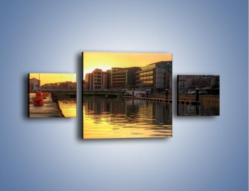 Obraz na płótnie – Kanał portowy o wschodzie słońca – trzyczęściowy AM079W4