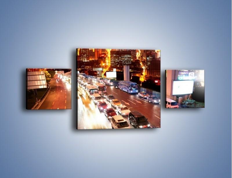 Obraz na płótnie – Wyjazd z zatłoczonego miasta – trzyczęściowy AM080W4