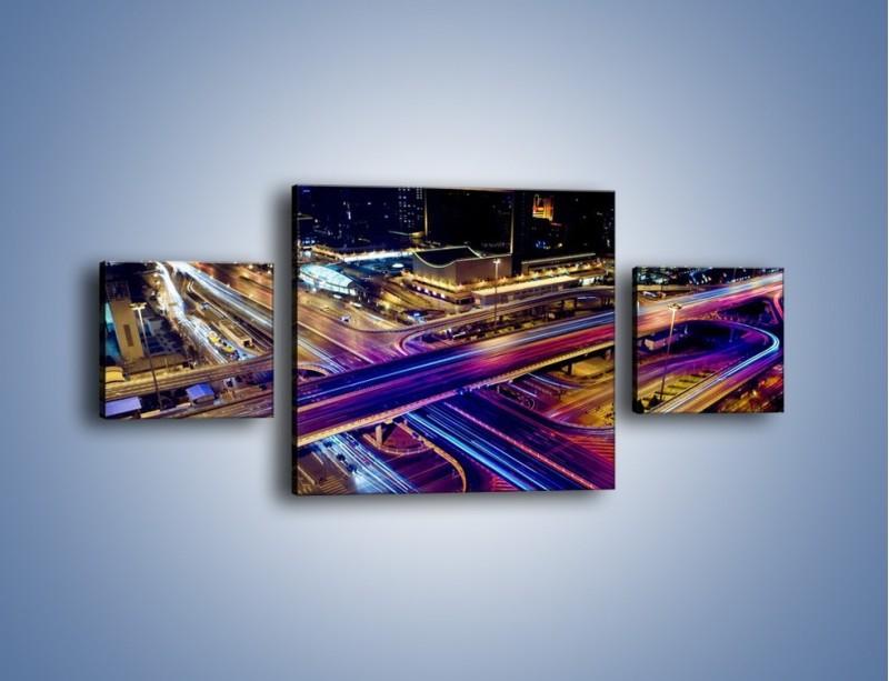 Obraz na płótnie – Skrzyżowanie autostrad nocą w ruchu – trzyczęściowy AM087W4