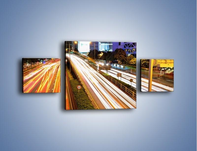 Obraz na płótnie – Ulice w ruchu w mieście – trzyczęściowy AM089W4