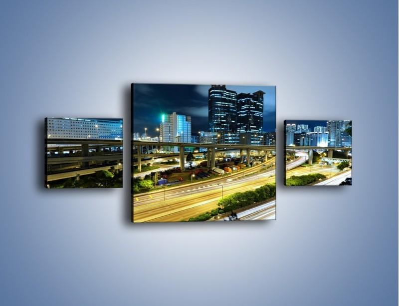 Obraz na płótnie – Przedmieście miasta wieczorem – trzyczęściowy AM091W4