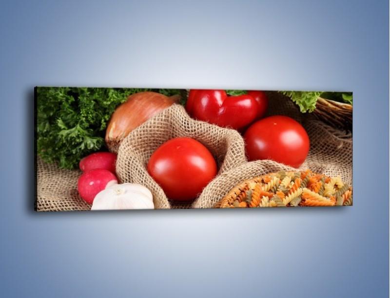 Obraz na płótnie – Makaron z warzywami – jednoczęściowy panoramiczny JN076