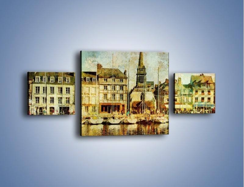 Obraz na płótnie – Łódki nad brzegiem miasteczka w stylu vintage – trzyczęściowy AM108W4