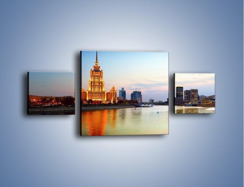 Obraz na płótnie – Nadrzeczne miasto o poranku – trzyczęściowy AM120W4