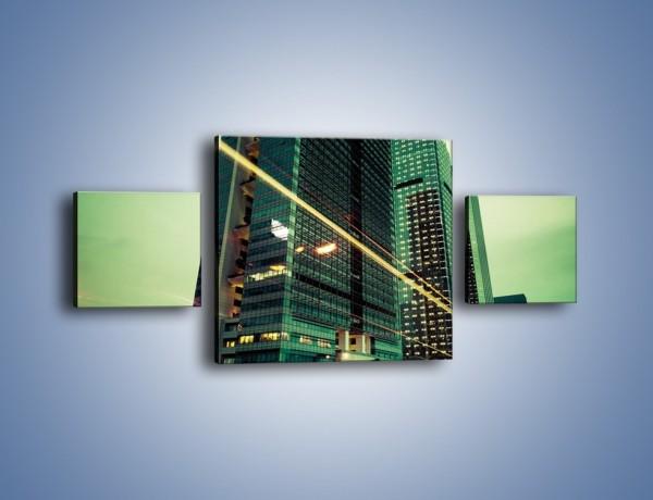 Obraz na płótnie – Wieżowce w zielonym odcieniu – trzyczęściowy AM129W4