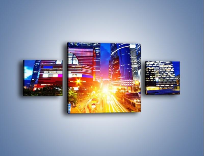 Obraz na płótnie – Miasto w żywych kolorach – trzyczęściowy AM131W4