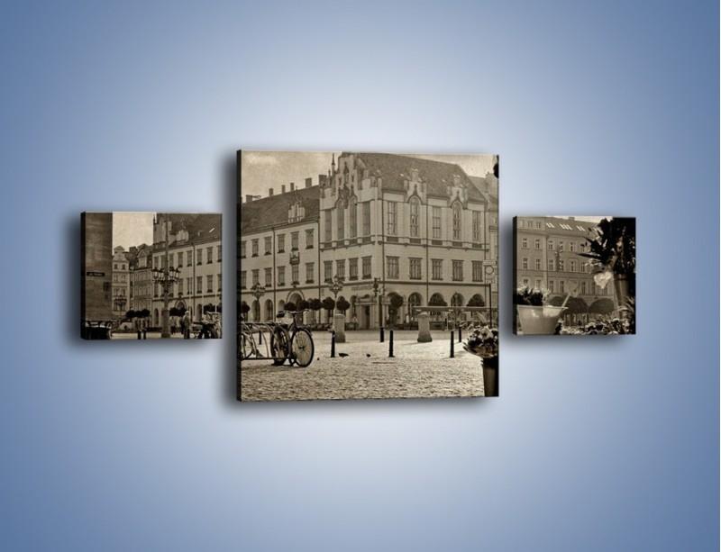 Obraz na płótnie – Rynek Starego Miasta w stylu vintage – trzyczęściowy AM138W4