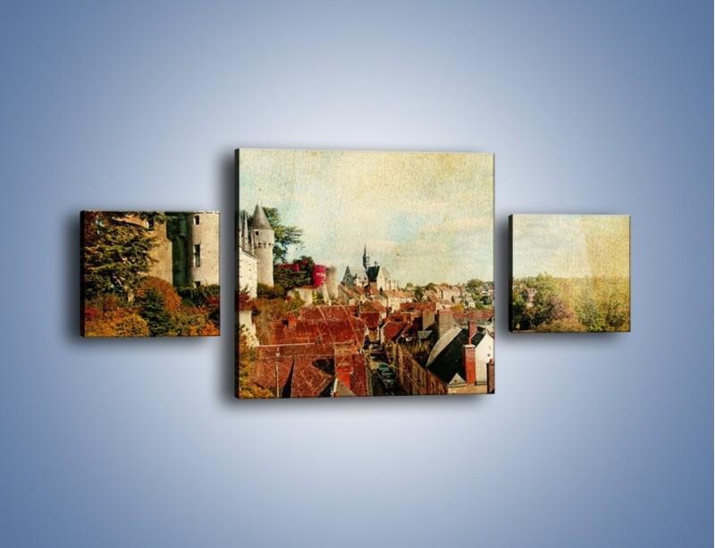 Obraz na płótnie – Zamek nad miasteczkiem w stylu vintage – trzyczęściowy AM142W4