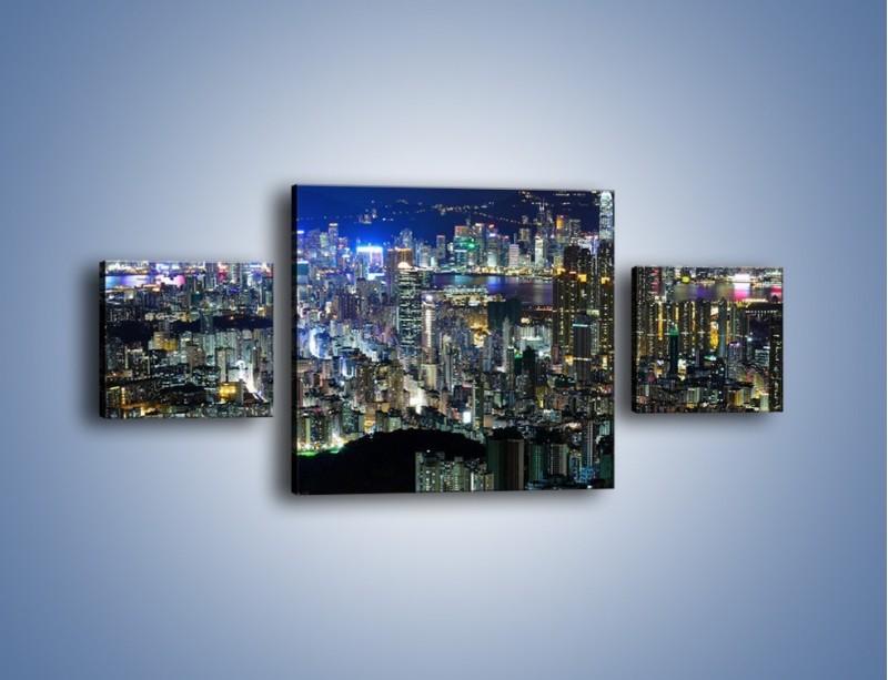 Obraz na płótnie – Nocne światła w dużym mieście – trzyczęściowy AM144W4