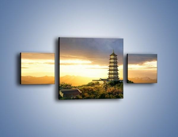Obraz na płótnie – Azjatycka architektura o poranku – trzyczęściowy AM151W4