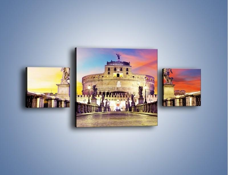 Obraz na płótnie – Zamek św. Anioła na tle kolorowego nieba – trzyczęściowy AM156W4