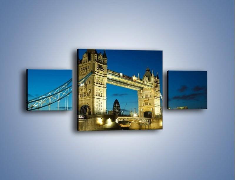 Obraz na płótnie – Tower Bridge wieczorową porą – trzyczęściowy AM159W4