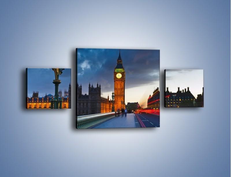 Obraz na płótnie – Big Ben świetle lamp – trzyczęściowy AM166W4