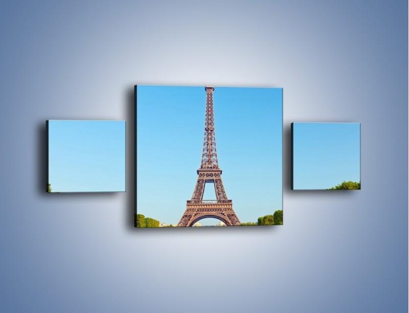 Obraz na płótnie – Wieża Eiffla pod błękitnym niebem – trzyczęściowy AM171W4