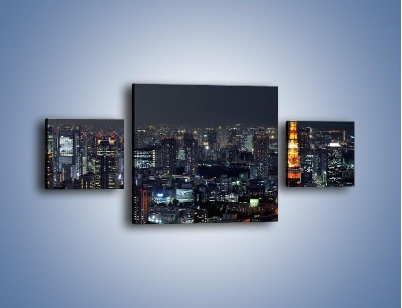 Obraz na płótnie – Rozświetlona Wieża Eiffla nocą – trzyczęściowy AM174W4
