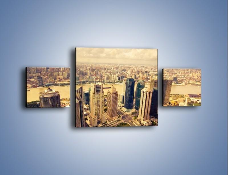 Obraz na płótnie – Miasto w pochmurny dzień – trzyczęściowy AM178W4