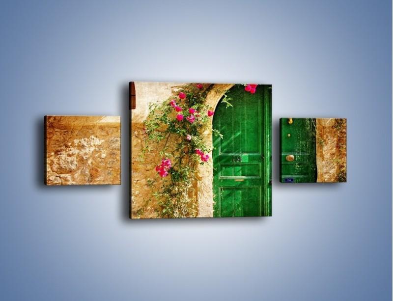 Obraz na płótnie – Drzwi w greckim domu vintage – trzyczęściowy AM192W4