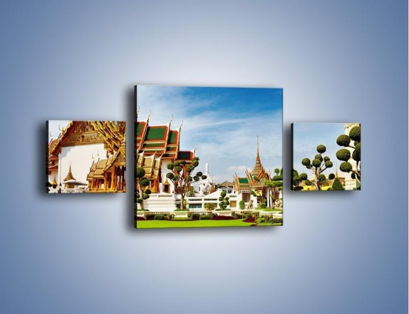 Obraz na płótnie – Tajska architektura pod błękitnym niebem – trzyczęściowy AM197W4