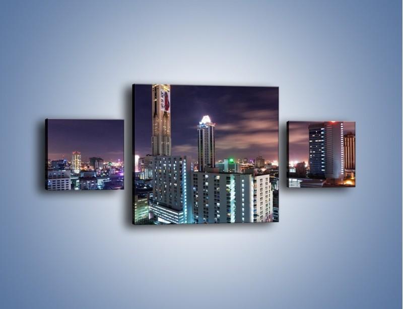 Obraz na płótnie – Duże miasto nocą – trzyczęściowy AM202W4