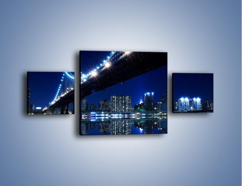 Obraz na płótnie – Oświetlony most w odbiciu wody – trzyczęściowy AM211W4