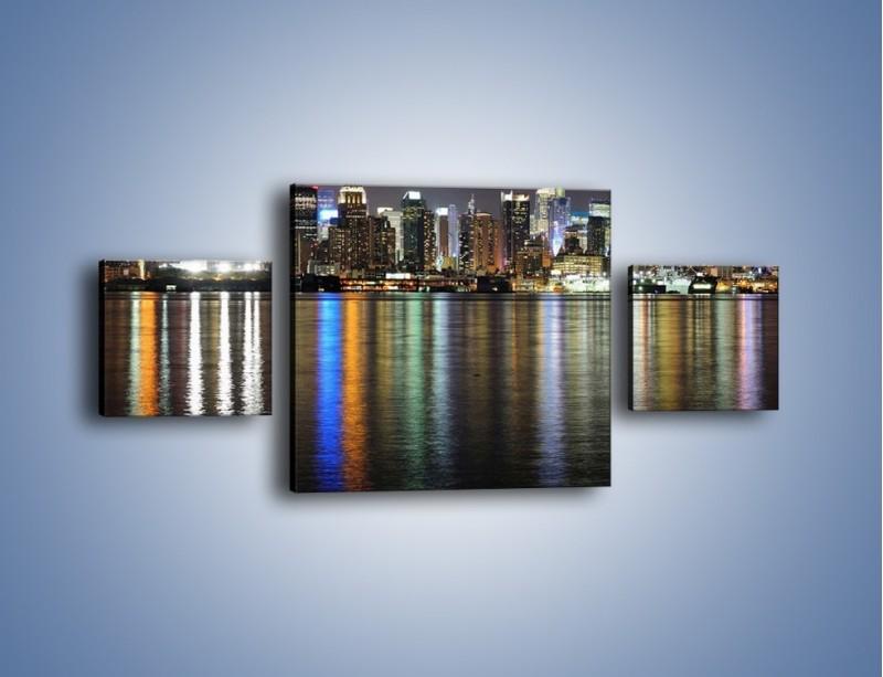 Obraz na płótnie – Światła miasta w lustrzanym odbiciu wody – trzyczęściowy AM222W4