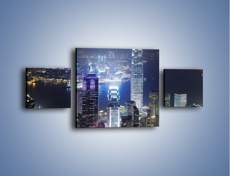 Obraz na płótnie – Miasto oświetlone nocą – trzyczęściowy AM223W4