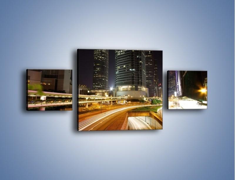 Obraz na płótnie – Miasto w nocnym ruchu ulicznym – trzyczęściowy AM225W4