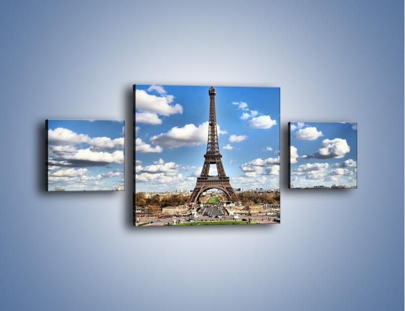 Obraz na płótnie – Wieża Eiffla w pochmurny dzień – trzyczęściowy AM227W4