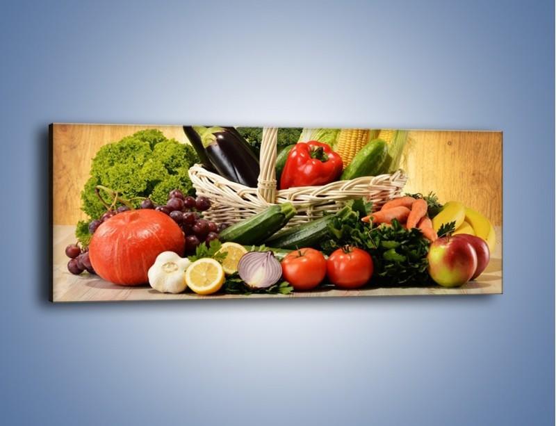 Obraz na płótnie – Kosz pełen warzywnych witamin – jednoczęściowy panoramiczny JN081