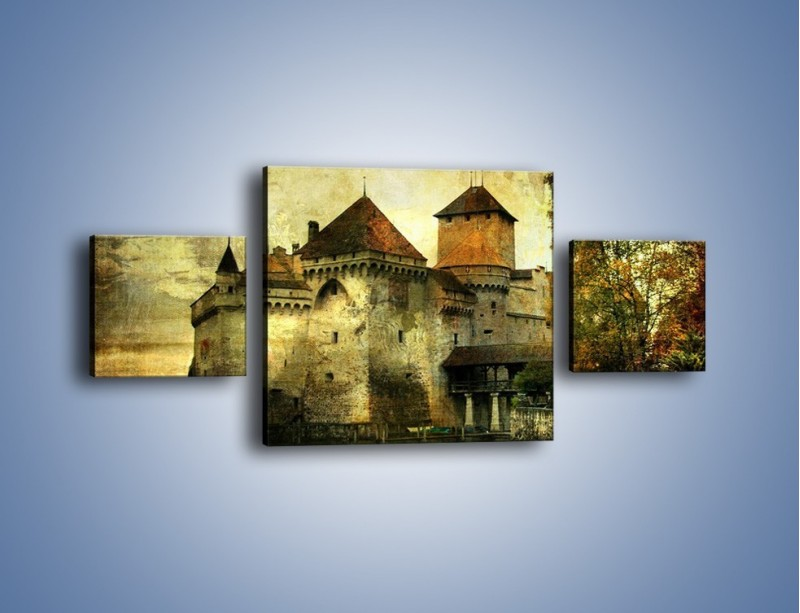 Obraz na płótnie – Średniowieczny zamek w stylu vintage – trzyczęściowy AM233W4