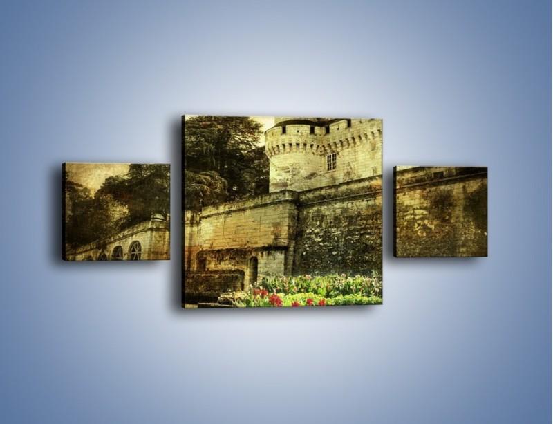 Obraz na płótnie – Zamek w stylu vintage – trzyczęściowy AM234W4