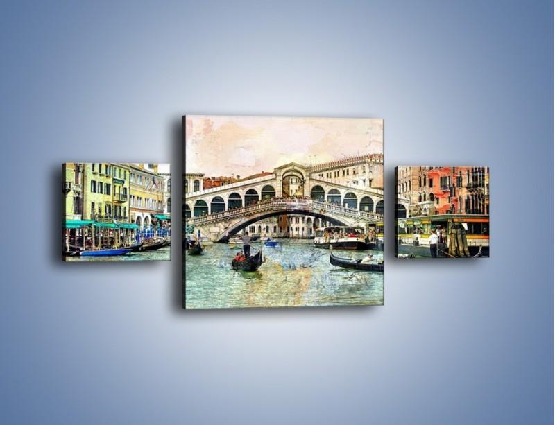 Obraz na płótnie – Wenecja w stylu vintage – trzyczęściowy AM239W4