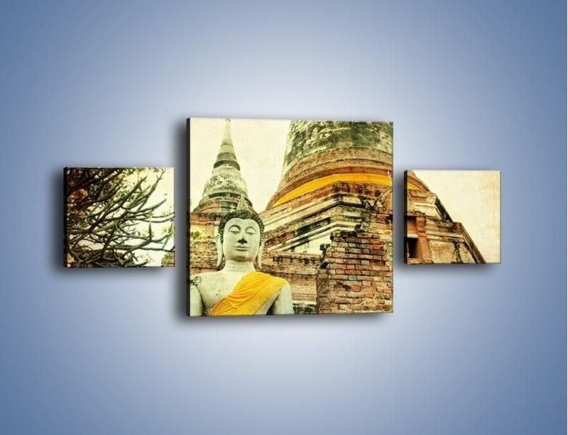 Obraz na płótnie – Tybetańska architektura w stylu vintage – trzyczęściowy AM247W4