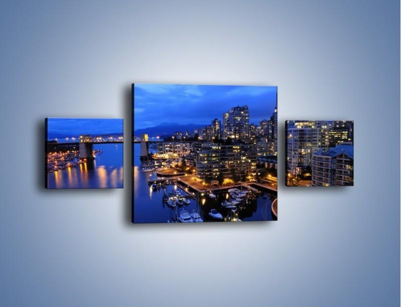 Obraz na płótnie – Port na jachty w mieście nocą – trzyczęściowy AM250W4