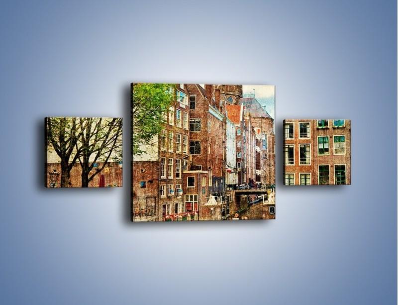 Obraz na płótnie – Kanał w Amsterdamie vintage – trzyczęściowy AM259W4