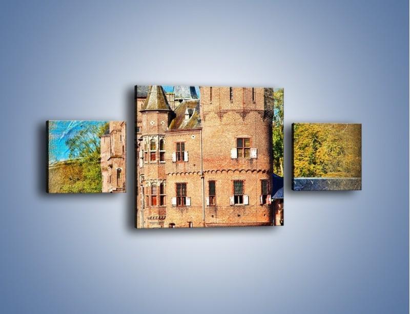 Obraz na płótnie – Zamek nad wodą w stylu vintage – trzyczęściowy AM262W4