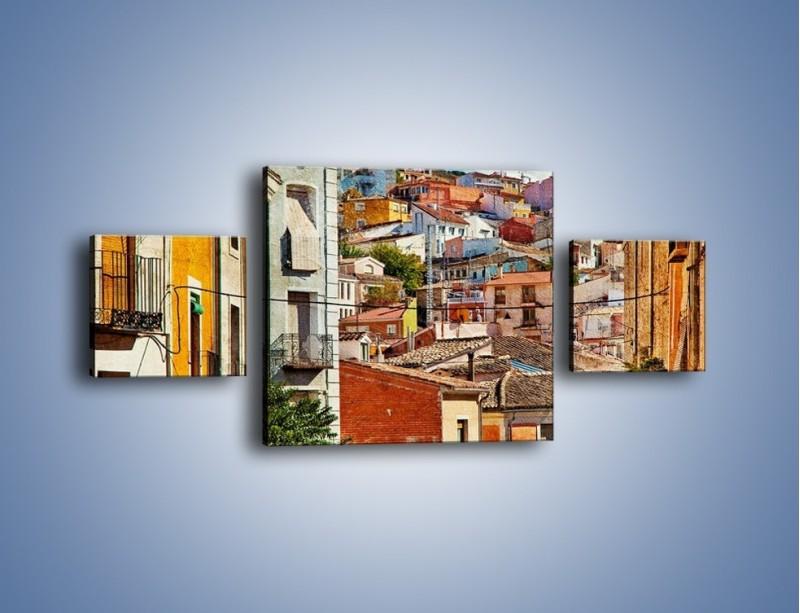 Obraz na płótnie – Kolorowe domki na wzgórzu vintage – trzyczęściowy AM264W4