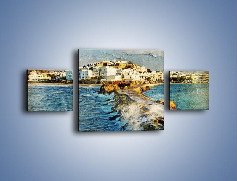 Obraz na płótnie – Grecka dróżka przez wodę vintage – trzyczęściowy AM268W4