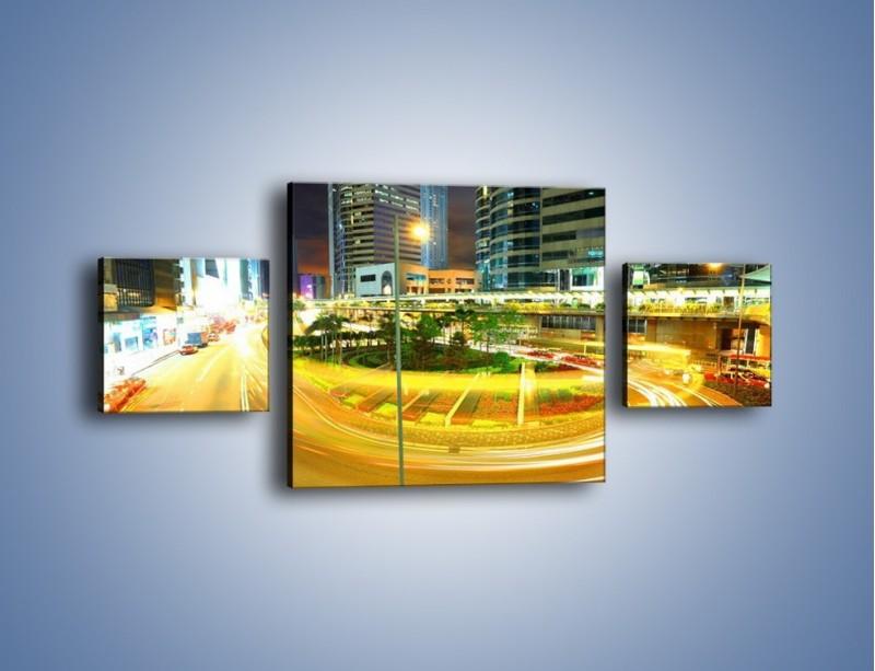 Obraz na płótnie – Światła samochodów w ruchu – trzyczęściowy AM280W4
