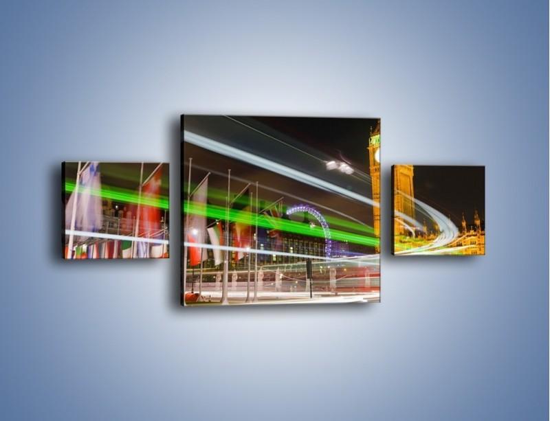 Obraz na płótnie – Światła samochodów na tle Big Bena – trzyczęściowy AM283W4