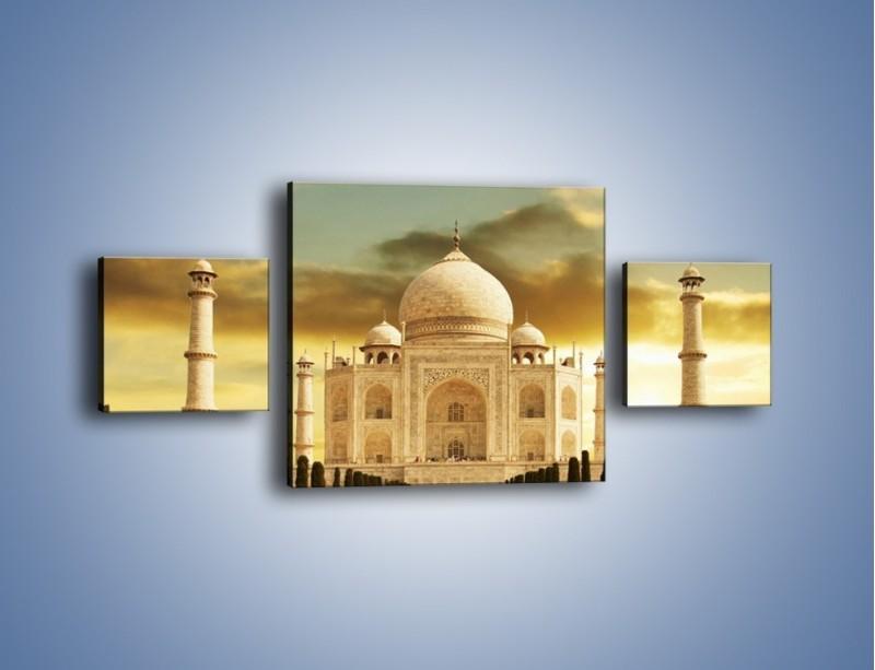 Obraz na płótnie – Tadź Mahal o zachodzie słońca – trzyczęściowy AM285W4