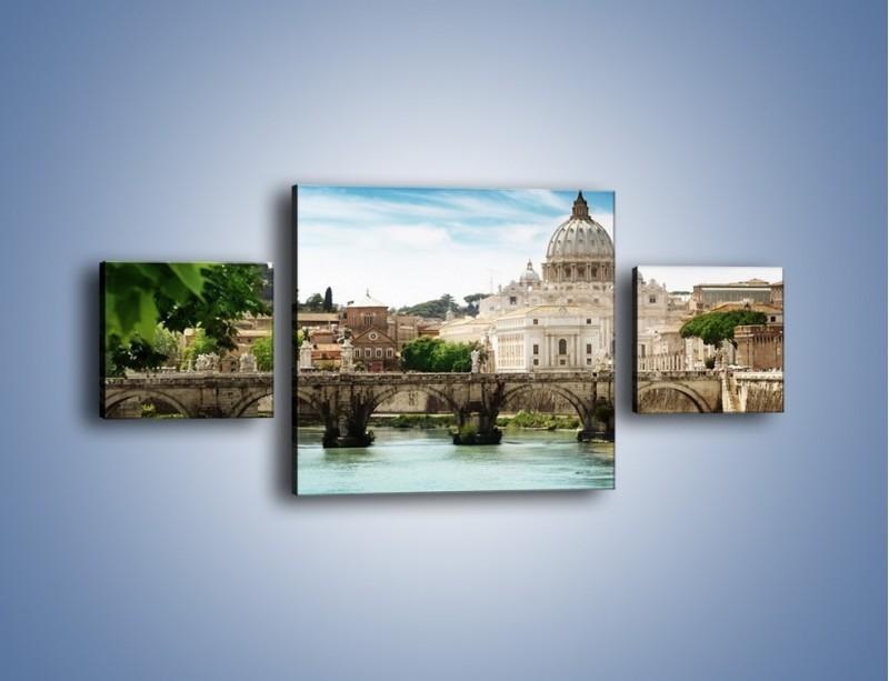 Obraz na płótnie – Rzeka Tyber na tle bazyliki – trzyczęściowy AM303W4
