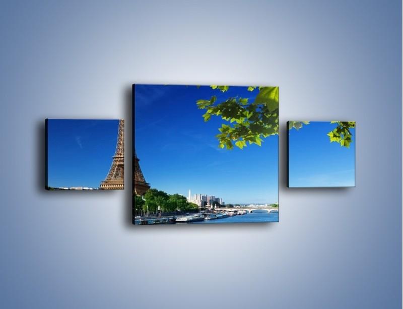 Obraz na płótnie – Wieża Eiffla w piękny dzień – trzyczęściowy AM304W4