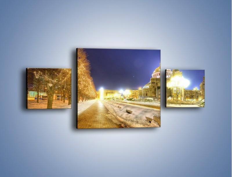 Obraz na płótnie – Zaśnieżona aleja bostońska – trzyczęściowy AM317W4